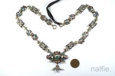 ANTIQUE-AUSTRO-HUNGARIAN-SILVER-ENAMEL-EMERALD-RUBY-amp-PEARL-NECKLACE-c1870