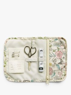 Buy John Lewis & Partners Floral Stems Print Sewing Roll Kit, Cream from our Craft, Crochet & Sewing Kits range at John Lewis & Partners. Sewing Kit, Sewing Basics, Hand Sewing, Sewing Case, Basic Sewing, Embroidery Bags, Embroidery Scissors, Small Quilted Gifts, Needle Cushion