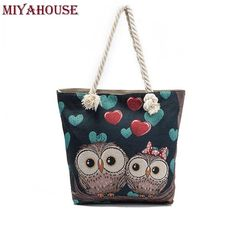 Miyahouse Women Beach Bag Owl Printed Canvas Handbags Large Capacity Ladies Shopping Bag Female Floral Single Shoulder Bag Bolsa $27.99   #cool #dress #fashionista #beauty #instafashion #streetstyle #iwant #sweet #model #fashion #love #styles #instastyle #ootd #pretty