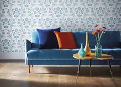 Best tips for a vintage decor with copper lighting Harlequin Fabrics, Harlequin Wallpaper, Blue Velvet Couch, Blue Couches, Copper Living Room, Look Retro, Guest Room Office, Furniture Upholstery, Living Room Inspiration