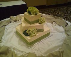 Offset Square Hydrangea Wedding Cake by Delicately Delicious, via Flickr