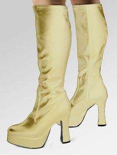 2b75e6dd0e0 Shiny gold fancy dress boots! Knee high
