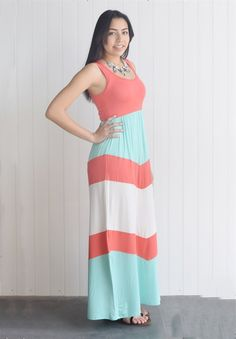 Modal chevron color block maxi dress S to XL Made in USA | Jane