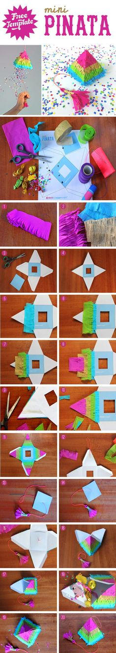 Make a Pinata to fill with goodies is easy and fun. Easy quick DIY video tutorial for a draw string pinata! Assemble cute mini rainbow pinatas for fiestas! Cute Crafts, Diy And Crafts, Crafts For Kids, Paper Crafts, Rainbow Pinata, Cumpleaños Diy, Easy Diy, Ideias Diy, Diy Birthday