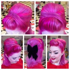 Vintage Hairstyles Updo Diablo Rose rocking bright pink hair and a big black bow! I love her cute rockabilly, pinup, retro style! Retro Hairstyles, Wedding Hairstyles, Bright Pink Hair, Hot Pink Hair, Pin Up Hair, Dream Hair, Hair Day, Hair Goals, Hair Inspiration