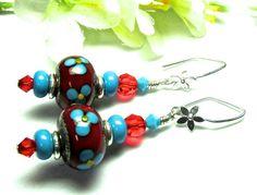 Funky Earrings Floral Earrings Lampwork Earrings by SeeMyJewelry