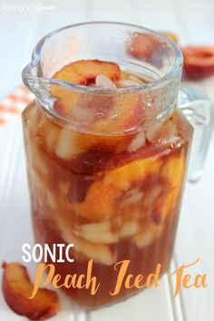 Iced Tea (like Sonic) Peach Iced Tea (like Sonic) - This Tea has some special ingredients to make it sweet and delicious. Enjoy this refreshing summer drink recipe! Sweet Tea Recipes, Iced Tea Recipes, Fruit Tea Recipes, Refreshing Summer Drinks, Summertime Drinks, Yummy Drinks, Healthy Drinks, Detox Drinks, Healthy Food