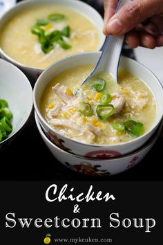 Feb 2020 - This Chicken and Sweetcorn soup is definitely my family favourite recipe. Its our winter comfort food. You and your family will enjoy this easy to cook Chicken and sweetcorn soup. Hot Dog Recipes, Soup Recipes, Chicken Recipes, Cooking Recipes, Best Chicken Soup Recipe, Oven Recipes, Vegetarian Cooking, Easy Cooking, Recipes Dinner