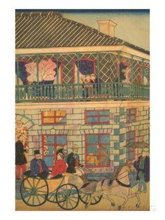Foreign Business District in Yokohama (Yokohama Kaigan Kakkoku Shokan Zu) No.3 Print by Utagawa Hiroshige at AllPosters.com