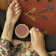Calligraphy tattoo Designed by me . Based on saadi's poem :  همه عمر بر ندارم سر از این خمار مستی که هنوز من نبودم که تو در دلم نشستی