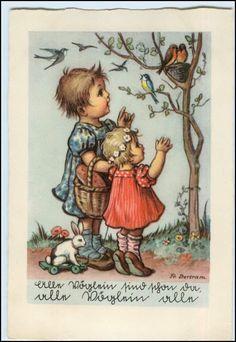 P1L40/ Kinder Mädchen und Vögel mit Nest Fr.Bertram ca.1950 AK   eBay