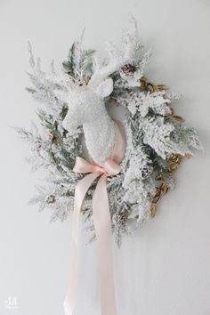 Whimsical Glam Christmas Living Room In Pastels - Summer Adams White Flocked Christmas Tree, Rose Gold Christmas Decorations, Christmas Tree Candles, Blue Christmas, Christmas Colors, Christmas Wreaths, Christmas Villages, Xmas, Christmas Ornaments