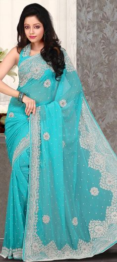 79031, Party Wear Sarees, Bridal Wedding Sarees, Net, Machine Embroidery, Cut Dana, Stone, Bugle Beads, Blue Color Family