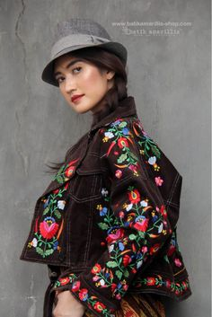 Batik Amarillis made in Indonesia www.batikamarillis-shop.com Batik Amarillis's Traveller Jacket part two , awesome freesize & oversize jacket which features Hungarian's Matyo Embroidery style and tenun Gedog Tuban.