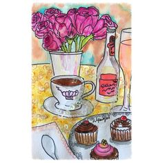 Tea time, watercolor by Alpaqui // Hora del té, acuarela por Alpaqui #watercolor #illustration #alpaqui #art #artwork #sequins #illustrations #illustrationart #watercoloring #comission #teatime #flowers #cupcakes #champagne