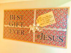 December 2018 bulletin board. Best. Gift. Ever. #Jesus School Art Projects, Art School, School Ideas, Christmas Bulletin Boards, Church Bulletin Boards, Kids Church, Church Ideas, Sunday School Crafts, Music Classroom