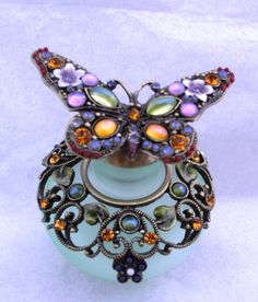 Passiflora Green  Perfume Bottle with Jeweled Butterfly