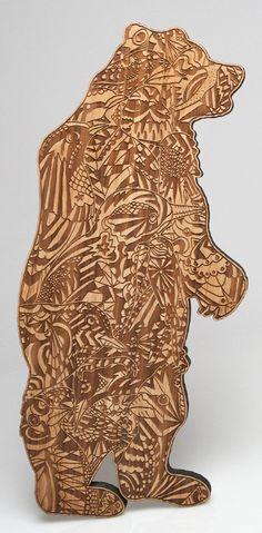 laser engraving bear