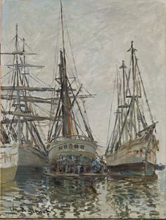 Claude Monet / Boats in a Harbour / about 1873 / Scottish National Gallery Le Havre clipper ships Claude Monet, Monet Paintings, Impressionist Paintings, Pierre Auguste Renoir, Artist Monet, National Gallery, Oil Painting Reproductions, Famous Art, Art Uk