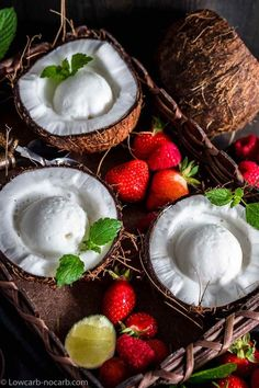 Easy to make, this Sugar-free Keto Coconut Ice Cream recipe is not only gluten free and egg free but also a perfect creamy no churn low carb ice cream with homemade Coconut milk. Low Carb Ice Cream, Healthy Ice Cream, Keto Fudge, Keto Brownies, Homemade Coconut Ice Cream, Coconut Milk, Cream Cheese Recipes, Ice Cream Recipes, Keto Dessert Easy