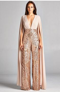 7b3a36fbb906e2 Rose Gold Jumpsuit, Sequin Jumpsuit, Special Occasion Outfits, Red Carpet  Looks, Dressmaking