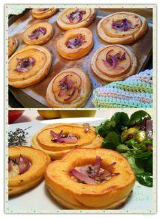 Quittenschnitten:   Blätterteig mit   Quitten, roten karamellisierten Zwiebeln, Thymian und KochTrotz Sour Cream
