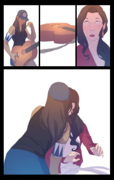 denimcatfish:Korrasami Musician AU Comic Part 3. First date/jam session.<:EDIT: Fixed the disappearing arm band and earring on Page 6. @__@;  Quedó absolutamente genial, valió la pena la espera…
