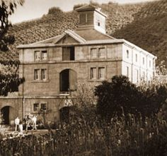 A historic photo from the Testarossa Winery and Tasting Room in Los Gatos, California.  The old winery dates back to 1888.