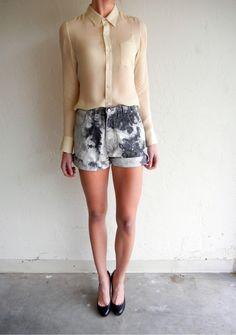 Black Marbled Jean Shorts $68.00