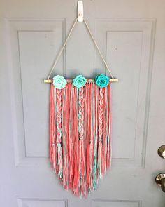 Boho Wall Hanging Nursery Decor Bow Holder Yarn Wall