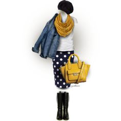 """Polka-a-dot Skirt"" by cynthia335 on Polyvore"