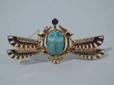 Egyptian Scarab Brooch - Antique Style Revival Pin - 14K Gold & Enamel - C 1920 in Jewelry & Watches, Vintage & Antique Jewelry, Fine, Victorian, Edwardian 1837-1910, Pins, Brooches | eBay