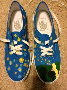 Super neat DIY Tangled shoes that remind me of Starry Starry Night (my favorite painting!)