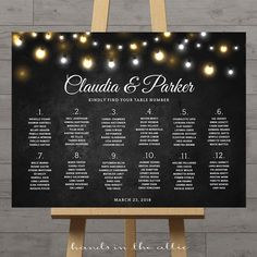 Fairy lights always add a little bit of magic to any celebration. Make it easy for your guests to find their seats with this Fairy Lights Wedding Seating Chart. Features glowing string lights on a black board background. Extra Notes The background of this printable is a dark, chalkboard black. Printing on white paper is recommended.