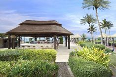 Beautiful thatched roof gazebo / bar at Jebel Ali Golf Resort's Captain's restaurant and bar. Outdoor Gazebos, Outdoor Structures, Roof Covering, Pool Bar, Thatched Roof, Outdoor Living, Ali, Living Spaces, House Plans