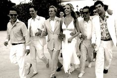 walking shot with linen suits