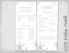 Diy Printable Elegant Winter Wedding Program Snowflakes Programs Navy White Color Can Be Customized To Your Pinterest
