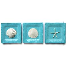 Beach Cottage Decor, Summer, Beach Decor Wall Art, Coastal Decor,... ($48) ❤ liked on Polyvore featuring home, home decor, wall art, beach home decor, hand plates, melamine plates, turquoise plates and horizontal wall art