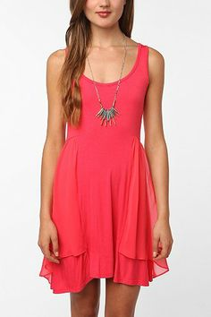 Pins and Needles Knit Chiffon Trim Dress - Urban Outfitters