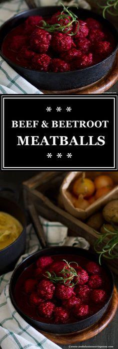 Juicy and vibrant beef and beetroot meatballs - my latest comfort food favourite ♥  * * *   meatballs comfortfood kosher glutenfree beef beetroot foodblog foodie foodphotography