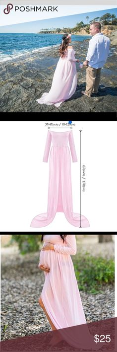 Pink Chiffon Maternity Dress. This is a really cute off the shoulder maternity gown. It's in perfect condition. I've used it once during my maternity shoot. Dresses Maxi