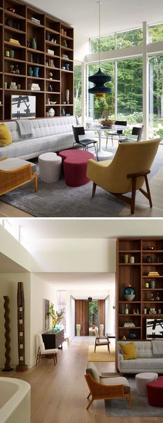 In this living and casual design room, large windows make the space bright, and…