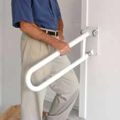 Health Craft  Rail Angled Grab Bar, White - ATG Stores