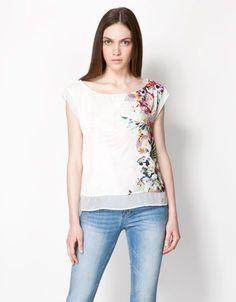 Bershka Bulgaria - Bershka tropical print blouse