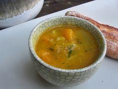Blue Hubbard Squash Soup with Pancetta