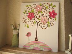 Tree, flowers, bird on canvas