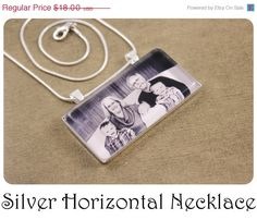 ON SALE NEW - Custom Photo Necklace Personalized Gift Silver Horizontal Rectangle 2x1 inch Pendant via Etsy