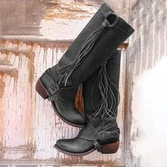 5a07ac3b15013 Women Vintage Tassel Knot Knee High Boots Chunky Heel Boots Womens Thigh  High Boots