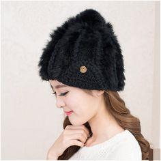 womens rabbit fur knit hat hairball beanie hat for autumn