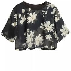 LUCLUC Dasiy Printed Short Sleeves Crop Tops (115 DKK) ❤ liked on Polyvore featuring tops, shirts, crop tops, lucluc, cut-out crop tops, crop top, shirt top, short sleeve shirts and short sleeve tops